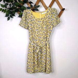 Row A Daisy Floral Belted A-Line Mini Dress